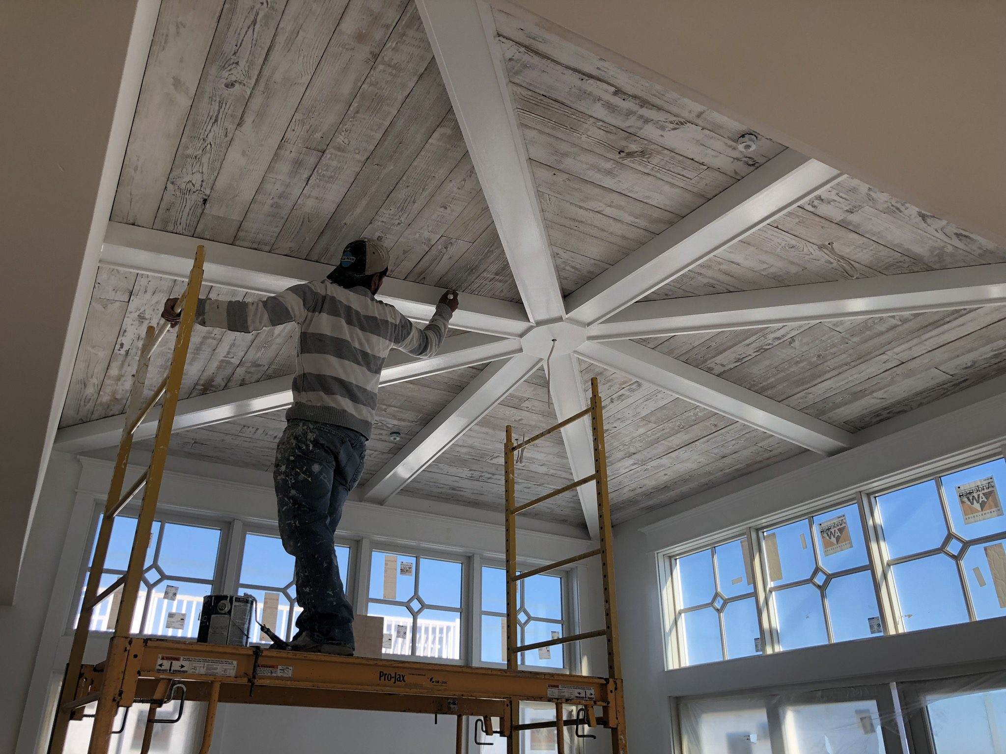 Man working on ceiling construction